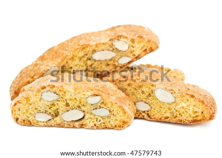 Italian cantucci cookies isolated on white background - stock photo