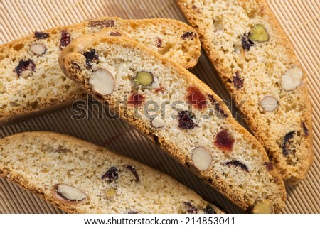 Italian cantucci on the table. - stock photo