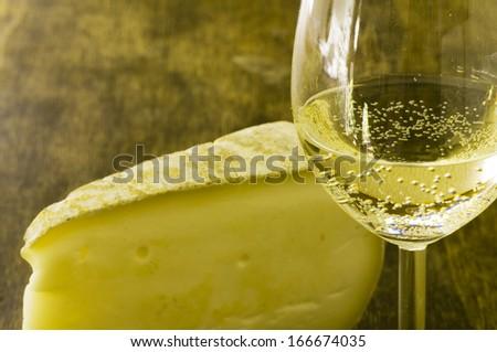 italian cheese and white wine/Italian white wine and cheese - stock photo