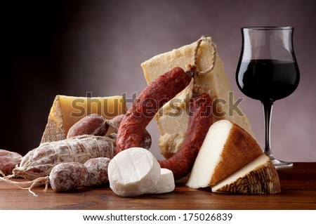 italian cheese salami and red wine