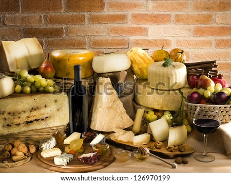 Italian cheese with red wine - stock photo