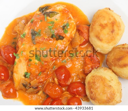 Italian chicken cacciatore with roast potatoes.