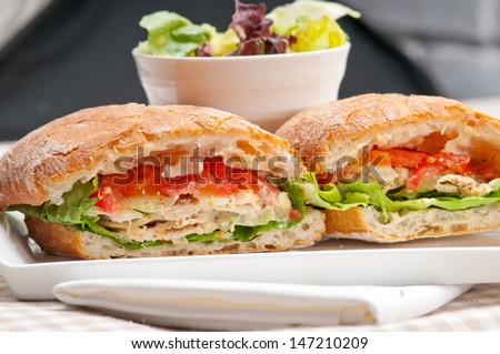 italian ciabatta panini sandwich with chicken and tomato - stock photo
