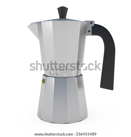 Italian Coffee Espresso Machine isolated on white- 3d illustration - stock photo