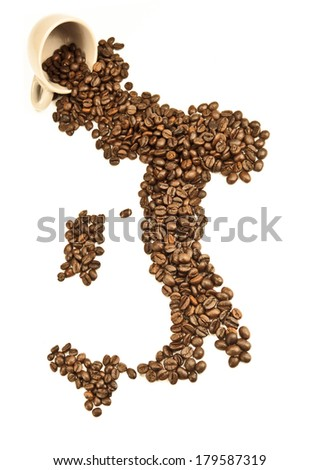 Italian coffee/inverted cup with coffee beans - stock photo
