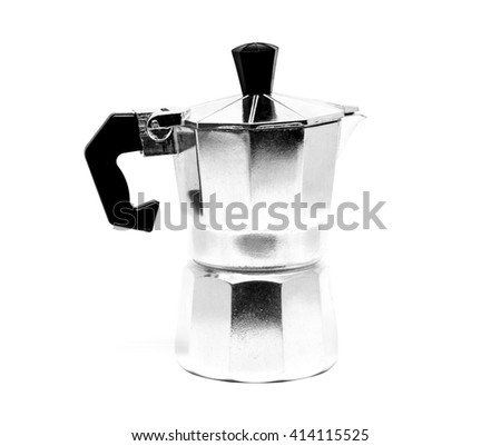 Italian coffee maker isolated on white background.