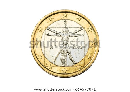 Italian Coin One Euro Closeup Symbol Stock Photo 100 Legal