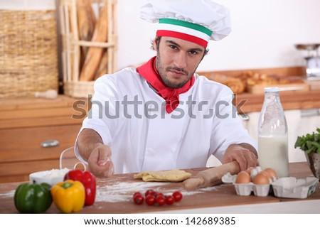 Italian cook cooking - stock photo