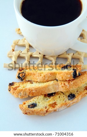 Italian cookie with coffee , typical italian sweet snack - stock photo