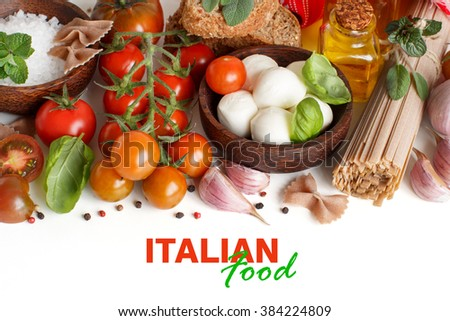 Italian cooking ingridients : mozzarella, tomatoes, garlic, herbs,  olive oil and other - stock photo