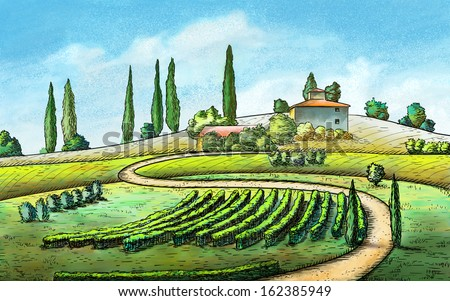 Italian country landscape. Original digital painting. - stock photo
