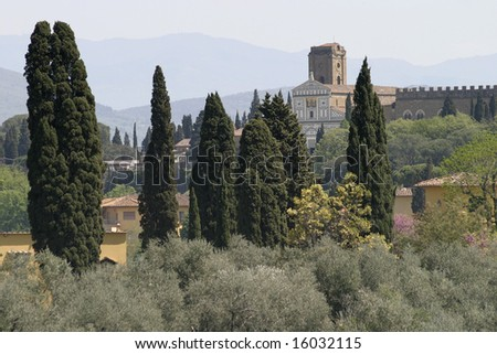 Italian countryside near Florence Italy red tile roofs sun sunshine