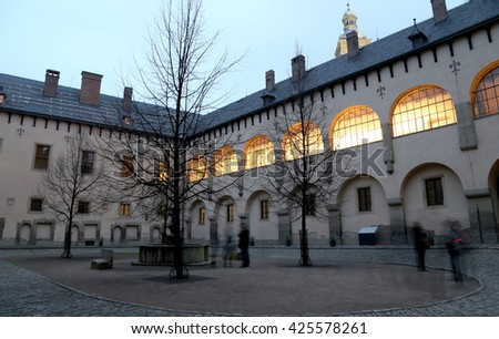 Italian court built in the fourteenth century was a royal mint and royal residence,Kutna Hora, Czech Republic