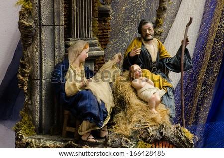 "italian crib called ""presepe napoletano"" - stock photo"