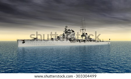 Italian cruiser of World War II Computer generated 3D illustration - stock photo