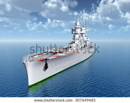Italian cruiser of World War II Computer generated 3D illustration - stock photo