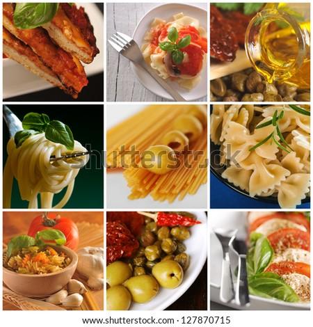 Italian cuisine - collage - stock photo