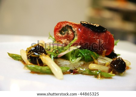 italian cuisine in a decorated dish - stock photo