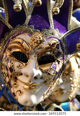 italian decorated carnival mask for masquerade during the celebrations in Venice