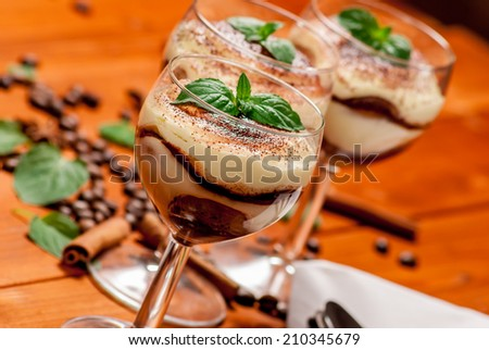 Italian dessert tiramisu with coffe and cinnamon - stock photo