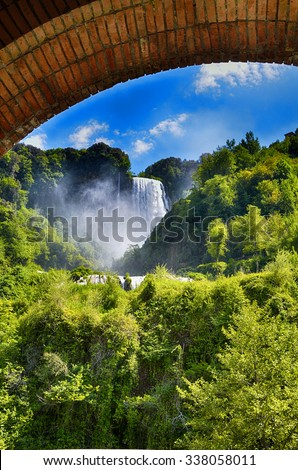 Italian destination, Marmore's falls, tallest man-made waterfall in Europe - stock photo