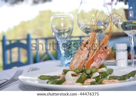 italian dish framed in elegant restaurant - stock photo