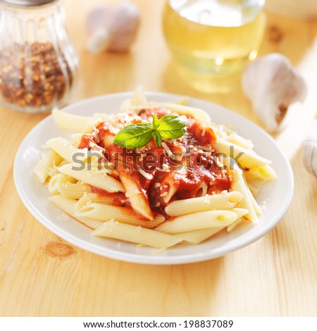 italian dish with penne pasta and tomato sauce - stock photo