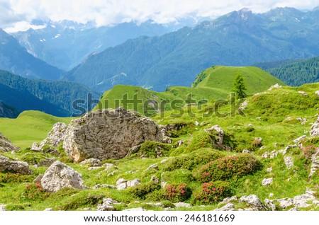 Italian Dolomites landscape, Dolomites Mountains, Italy  - stock photo