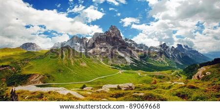 Italian Dolomiti - nice panoramic view of high mountains - stock photo