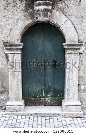 italian door in small village, Italy