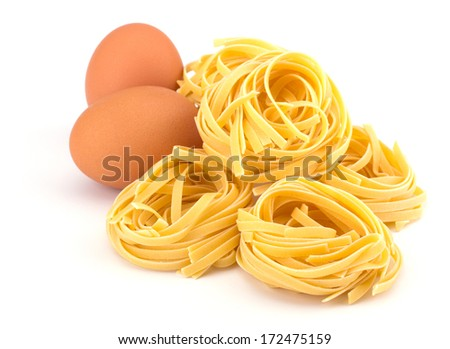 Italian egg pasta nest isolated on white background  - stock photo