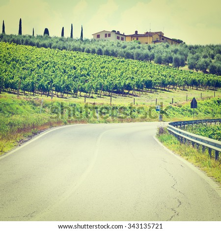 Italian Farmhouse near the Asphalt Road Surrounded by Vineyards, Olive Groves and Cypress Alleys, Instagram Effect - stock photo