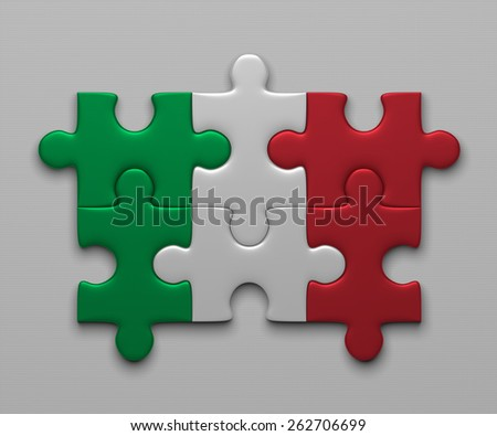 Italian flag assembled of puzzle pieces on gray background - stock photo