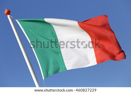 Italian flag blowing in the wind