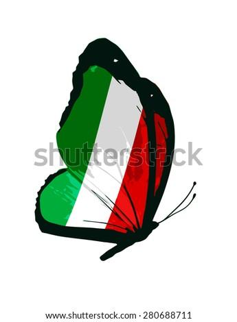 Italian flag butterfly - stock photo