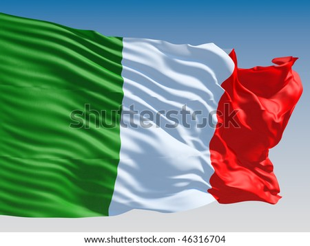 Italian flag flying on clear sky background. - stock photo