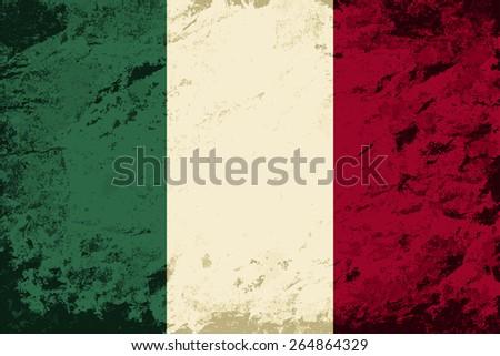 Italian flag Grunge background. Raster version - stock photo