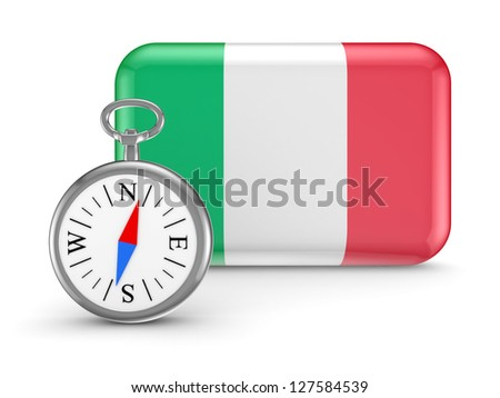 Italian flag.Isolated on white background.3d rendered. - stock photo