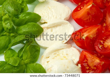 Italian flag made with Tomato Mozzarella and Basil - stock photo
