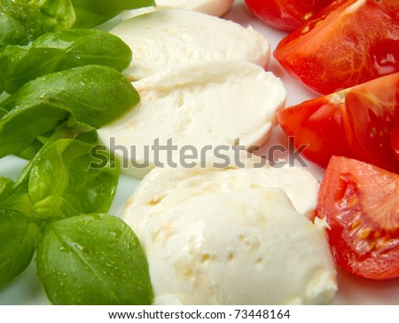 Italian flag made with Tomato Mozzarella and Basil - stock photo