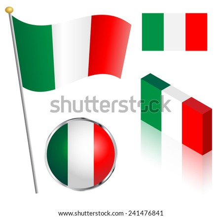 Italian flag on a pole, badge and isometric designs illustration.  - stock photo