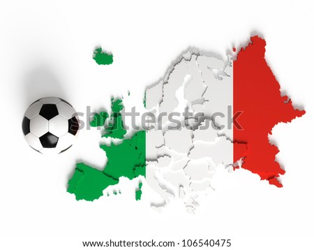 Italian flag on European map with national borders, isolated on white background - stock photo