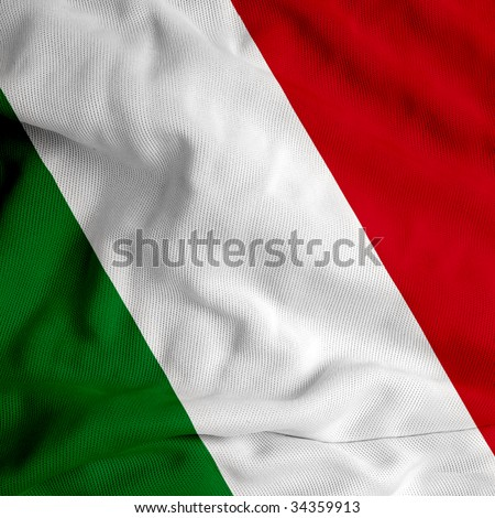 Italian flag on satin texture - stock photo