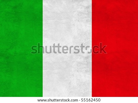 Italian flag on vintage paper - stock photo