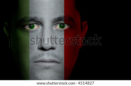 Italian flag painted/projected onto a man's face.