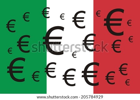 Italian flag with Euro symbols  - stock photo