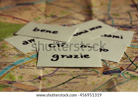 Italian flash card with the word Thank You on the map - stock photo