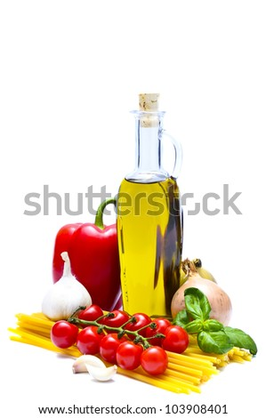 italian food and pasta ingredients isolated on a white background - stock photo