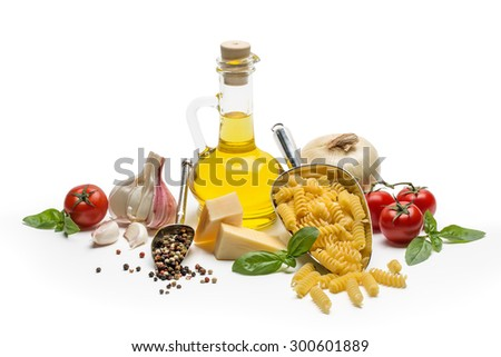 Italian food and pasta ingredients isolated on white background - stock photo