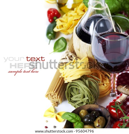 Italian food and wine. Ingredients for cooking (pasta, tomatoe, garlic, pepper, mushroom, bay leaves, olives, olive oil, basil)  over white (with easy removable sample text) - stock photo